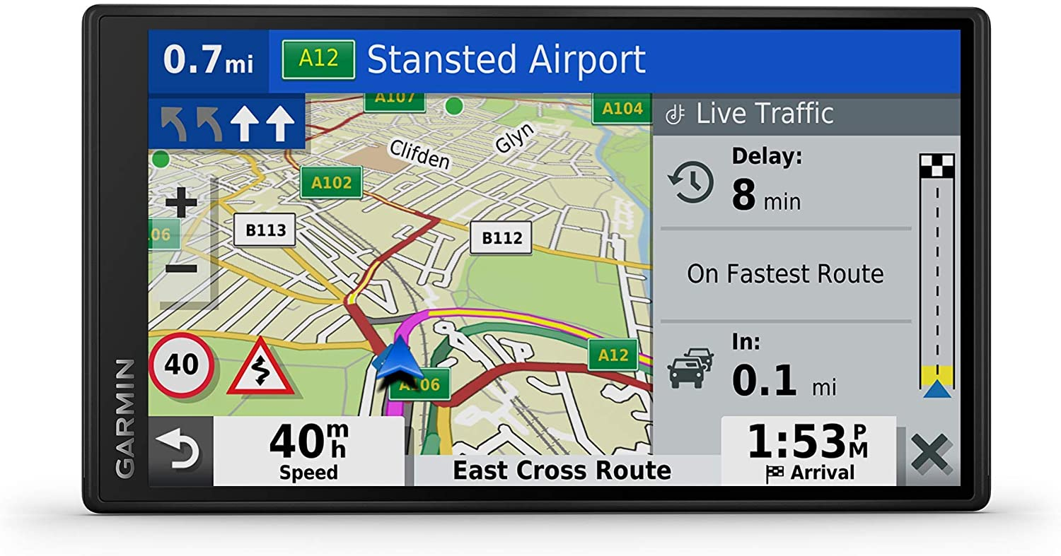 Garmin DriveSmart 55 Mt-D 5.5 inch Sat Nav with Edge to Edge Display, Map Updates for UK, Ireland and Full Europe, (Renewed)