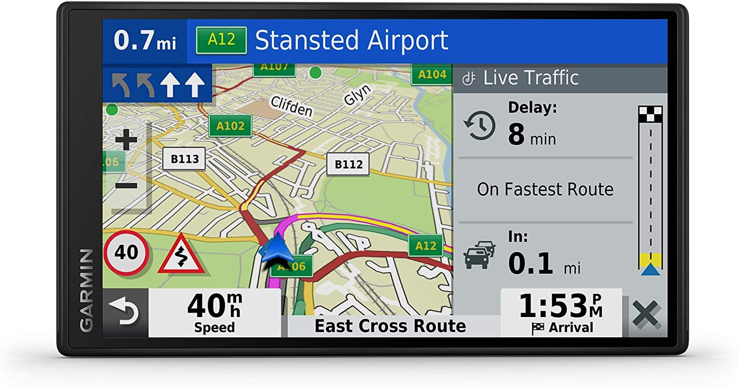 Garmin DriveSmart 65 MT-D 6.95 Inch Sat Nav with Edge to Edge Display, Map Updates for UK, Ireland and Full Europe, Digital Traffic (Renewed)